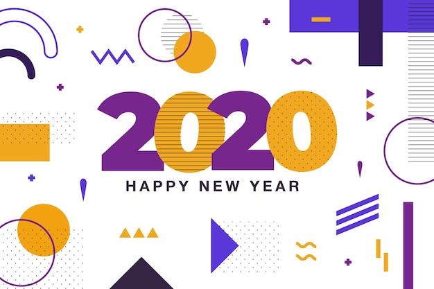 Sfondo del nuovo anno 2020 con stile memphis Vettore gratuito