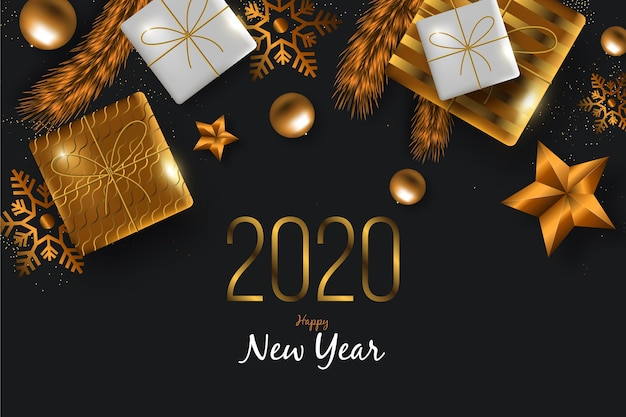 New year 2020 background with realistic golden decoration Free Vector