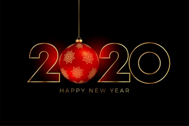 Free Vector | New year 2020 background with red christmas ball