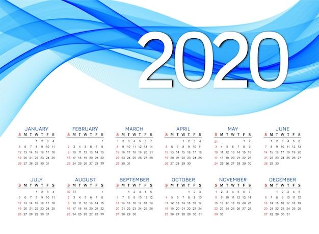 Новый год 2020 календарь современный синий дизайн волны Бесплатные векторы