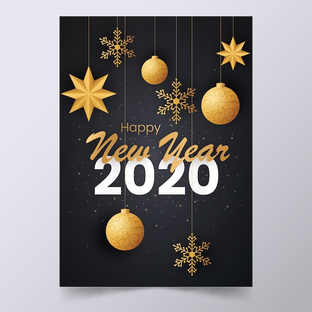 New year 2020 elegant poster with hanging decorations ...