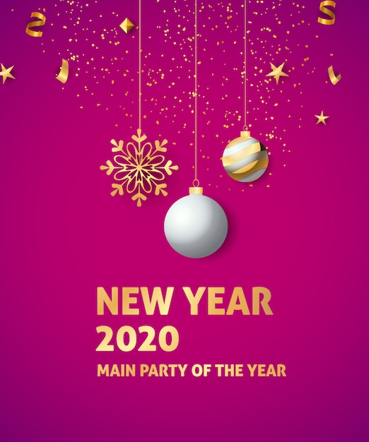 New year 2020 festive banner Free Vector