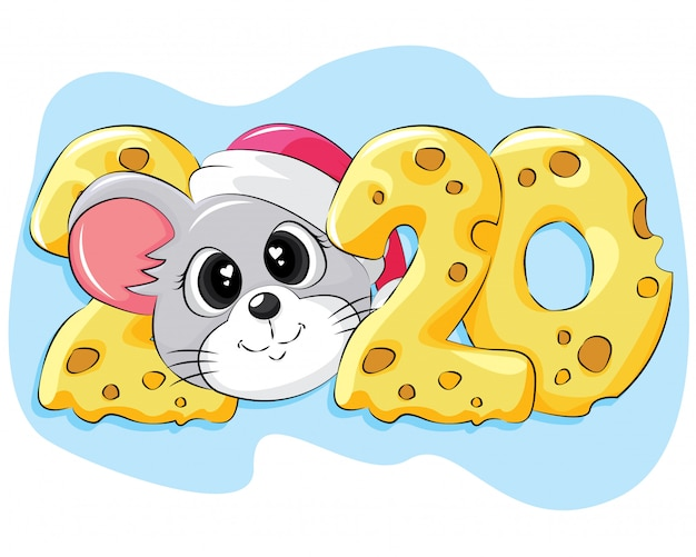 New year 2020 flat greeting card with mouse and cheese Premium Vector
