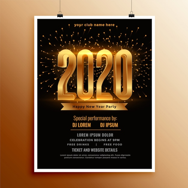 New year 2020 flyer or poster  in black and gold colors Free Vector