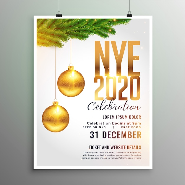 New year 2020 flyer in white theme style Free Vector