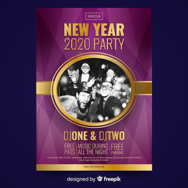 New year 2020 friends party poster Free Vector