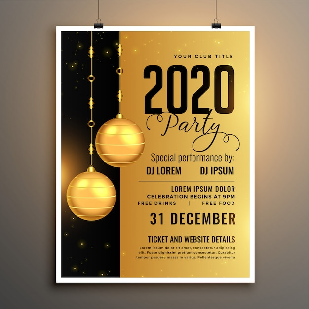New year 2020 golden party flyer template Free Vector