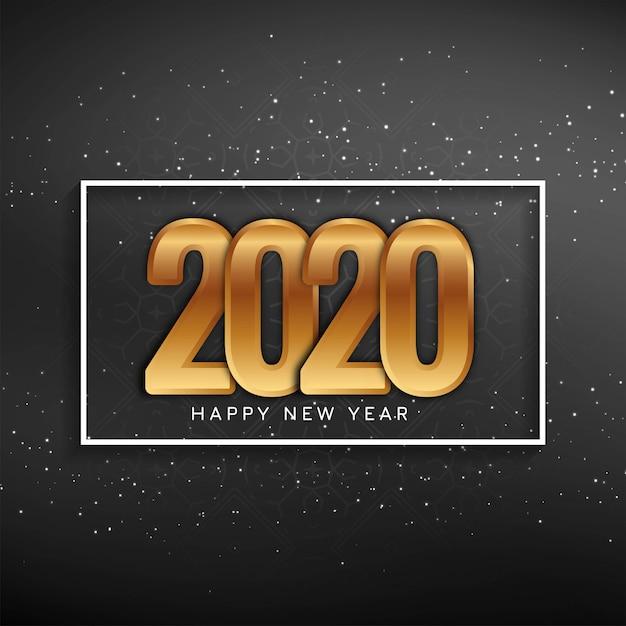 Cartolina d'auguri di nuovo anno 2020 con testo dorato Vettore gratuito