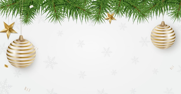 New year 2020 holidays banner with christmas tree branches Premium Vector
