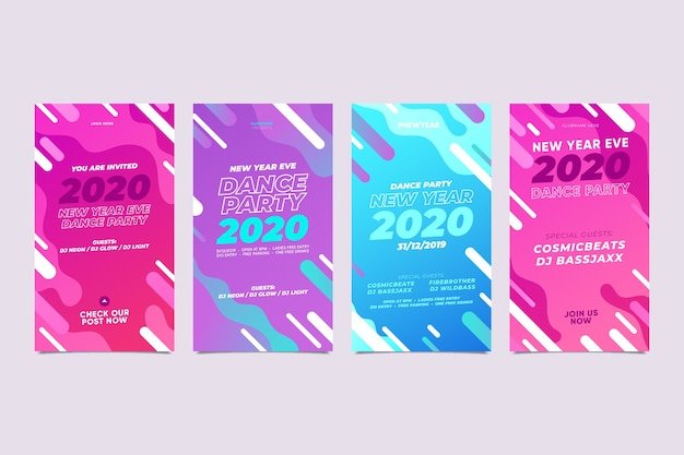 New year 2020 instagram story assortment Free Vector