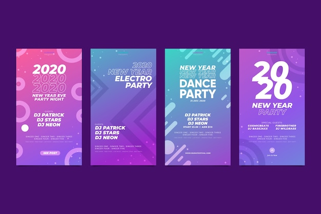 New year 2020 instagram story pack Free Vector