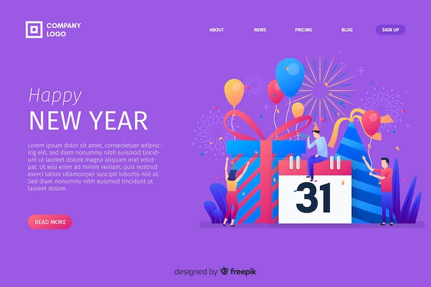 New year 2020 landing page with calendar Free Vector