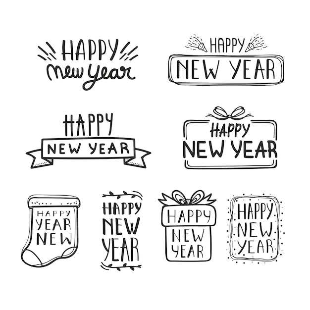 New year 2020 lettering collection Free Vector