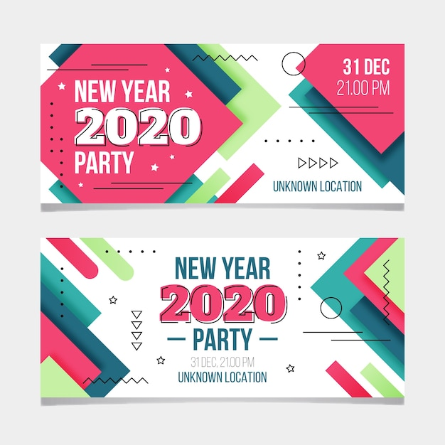 New year 2020 party banners in flat design Free Vector