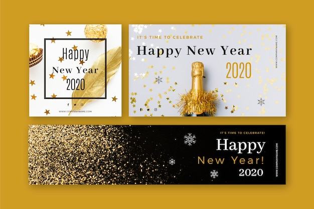 New year 2020 party banners with photo set Free Vector