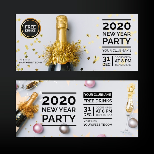 New year 2020 party banners with photo Free Vector