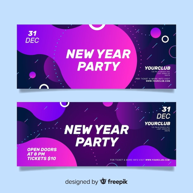 New year 2020 party banners Free Vector
