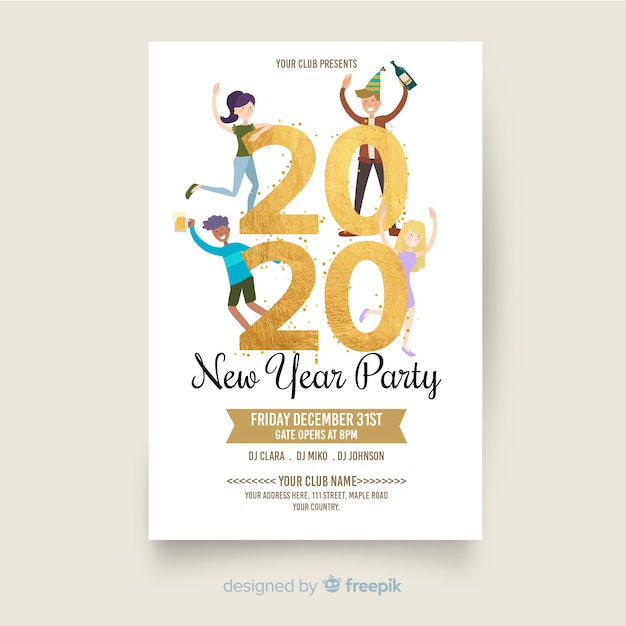 New year 2020 party flyer in flat design Free Vector