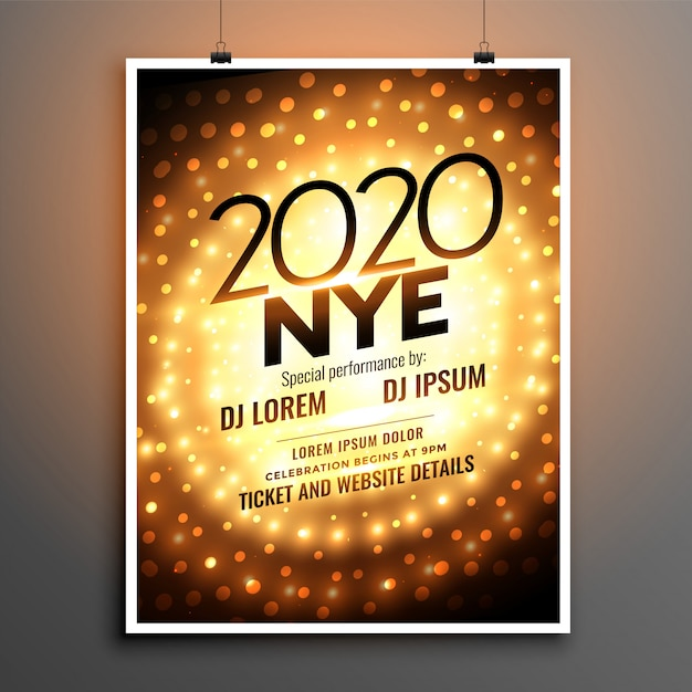 New year 2020 party flyer or poster template Free Vector
