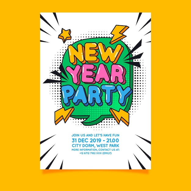 New year 2020 party flyer template in flat design Free Vector