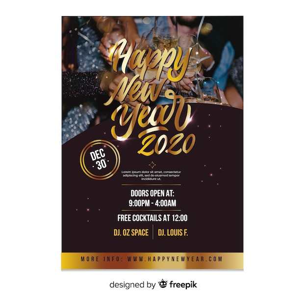 New year 2020 party flyer template with photo Free Vector