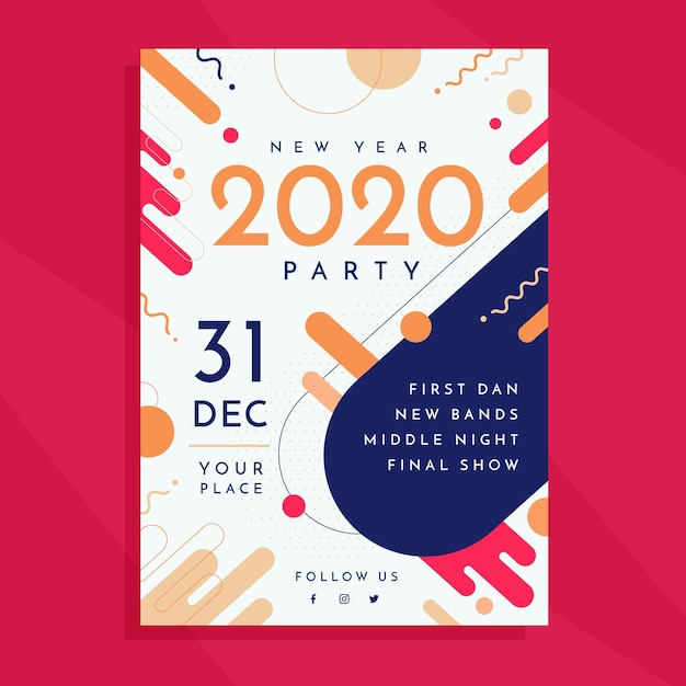 New year 2020 party flyer template Free Vector