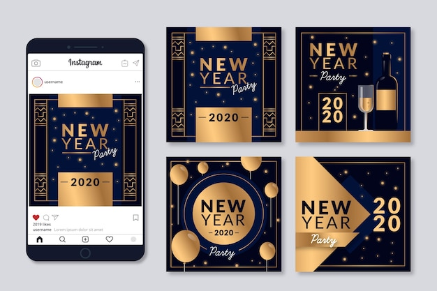 New year 2020 party instagram post collection Free Vector