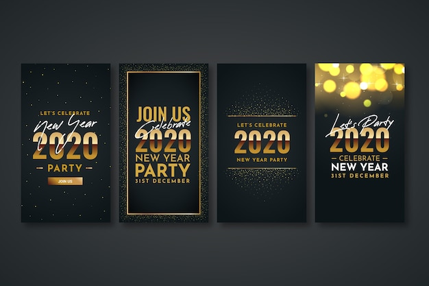 New year 2020 party instagram story collection Free Vector