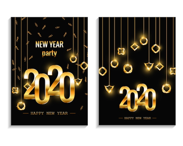 New year 2020 party invitation posters or flyer set. holiday invitations with geometric decorations vector template Premium Vector