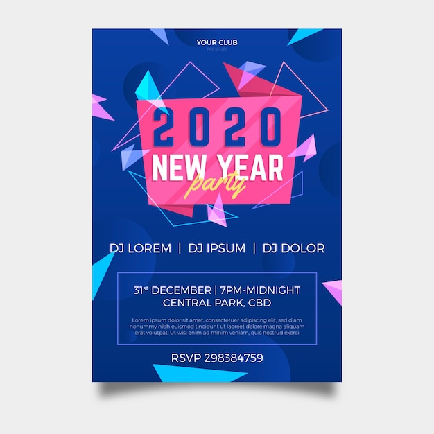 New year 2020 party poster template in flat design Free Vector