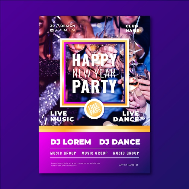 New year 2020 party poster template with image Free Vector