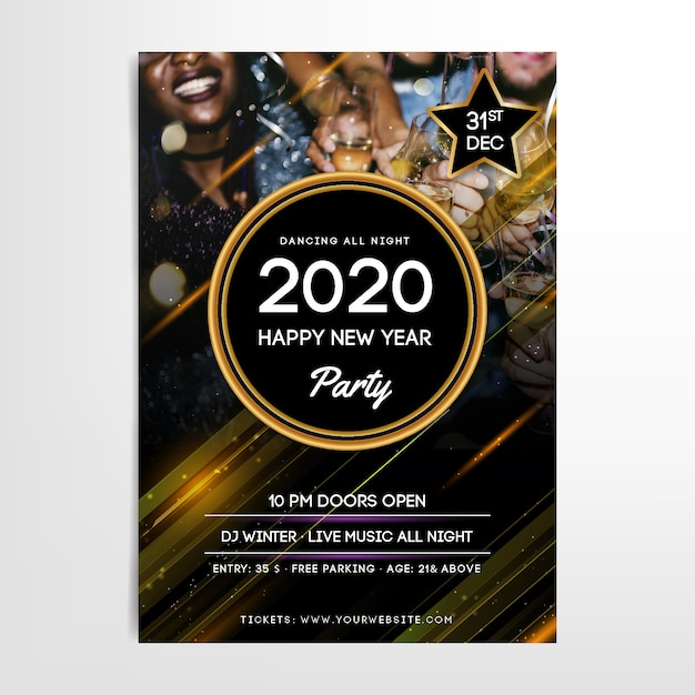 New year 2020 party poster template with photo Free Vector