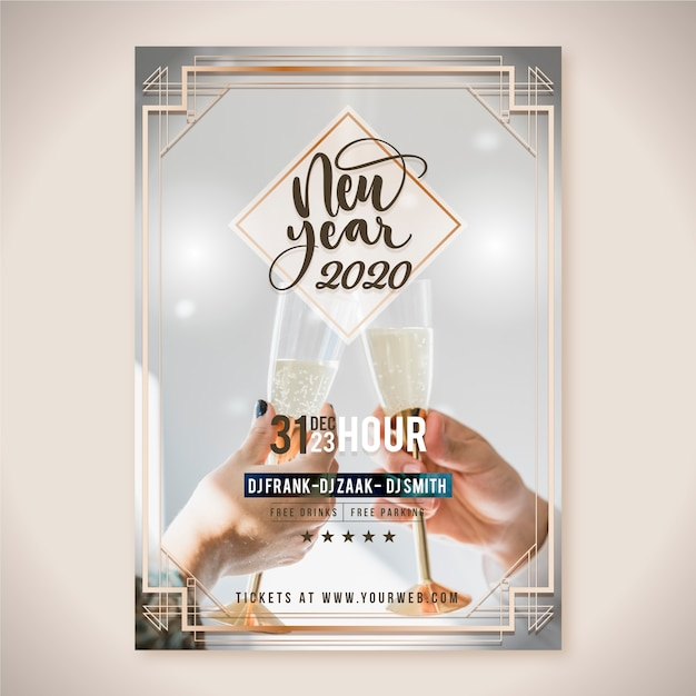New year 2020 party poster template with picture Free Vector