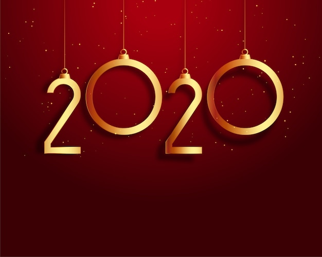 New year 2020 red and gold background Free Vector