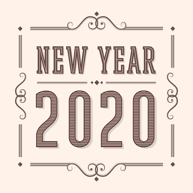 New year 2020 in vintage style Free Vector