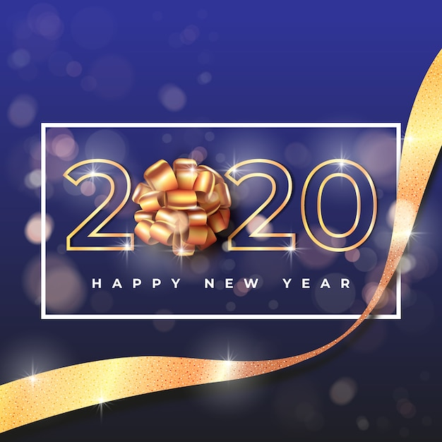 New year 2020 wallpaper with golden gift bow Vector | Free ...