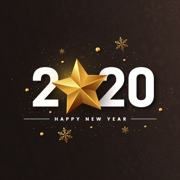New year 2020 with golden star shiny Premium Vector