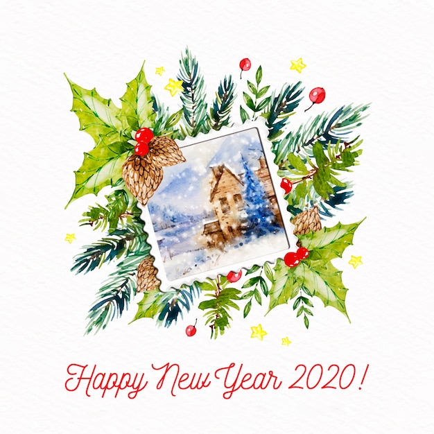 New year 2020 with postcard stamp Free Vector