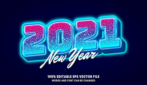 New year 2021 3d editable text style effect Premium Vector
