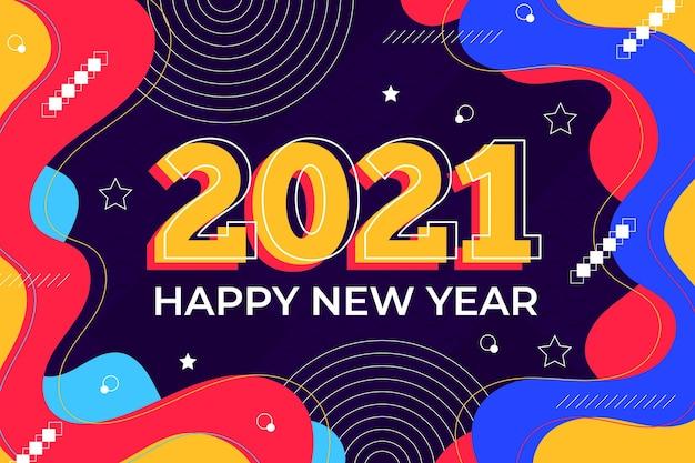 Новый год 2021 фон в плоском дизайне Premium векторы