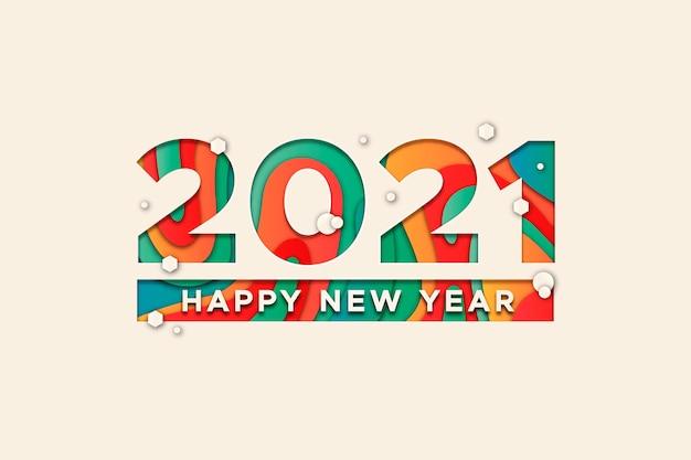 Новый год 2021 фон в бумажном стиле Premium векторы