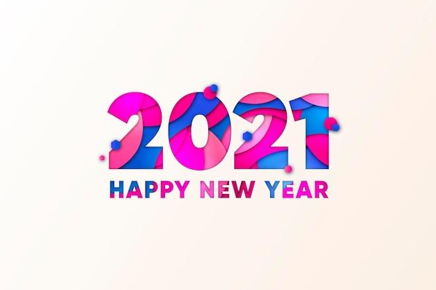 종이 스타일의 새 해 2021 배경 프리미엄 벡터