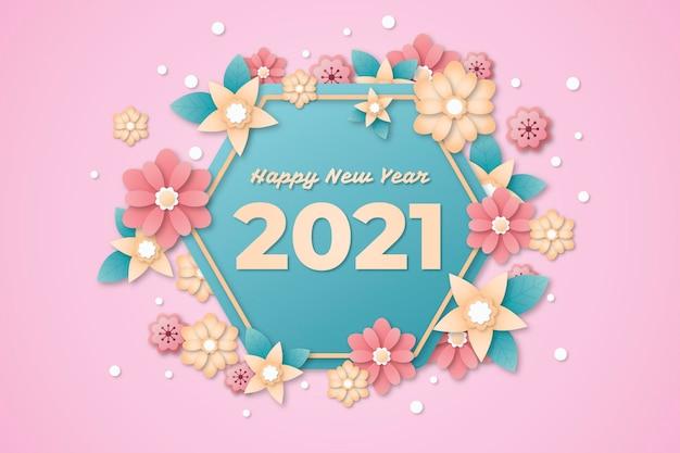 紙のスタイルで2021年の新年の背景 無料ベクター