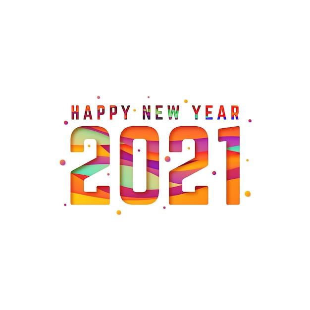 종이 스타일의 새 해 2021 배경 무료 벡터