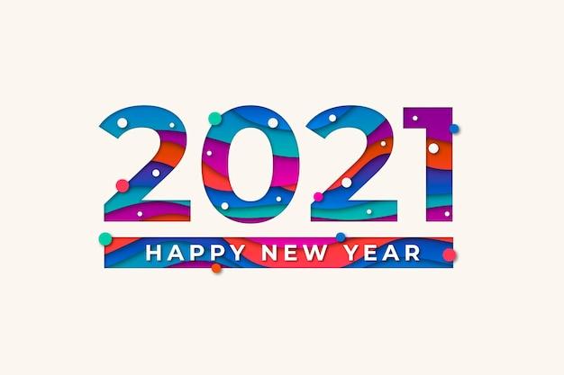 紙のスタイルで2021年の新年の背景 Premiumベクター