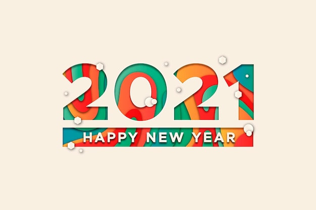 Premium Vector New Year 2021 Background In Paper Style