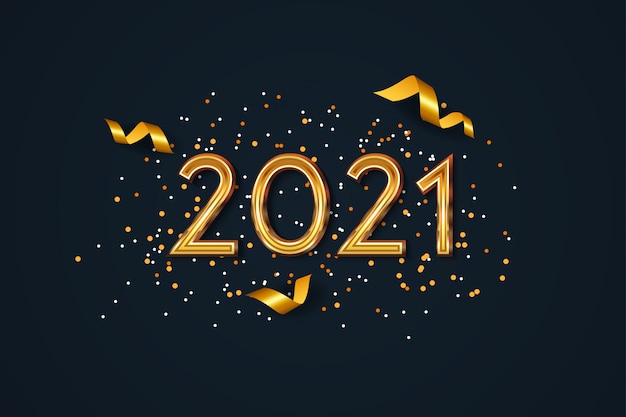 New year 2021 background with golden confetti Premium Vector