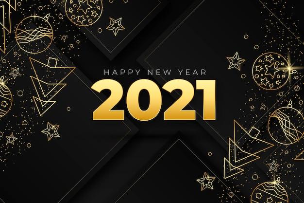 Новый год 2021 фон с реалистичным золотым декором Бесплатные векторы