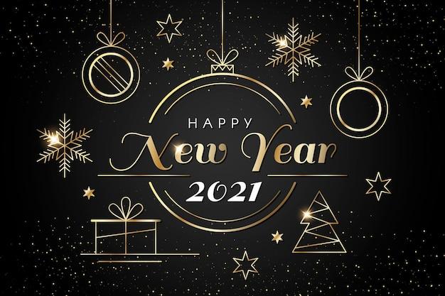 Sfondo del nuovo anno 2021 con decorazioni dorate realistiche Vettore gratuito