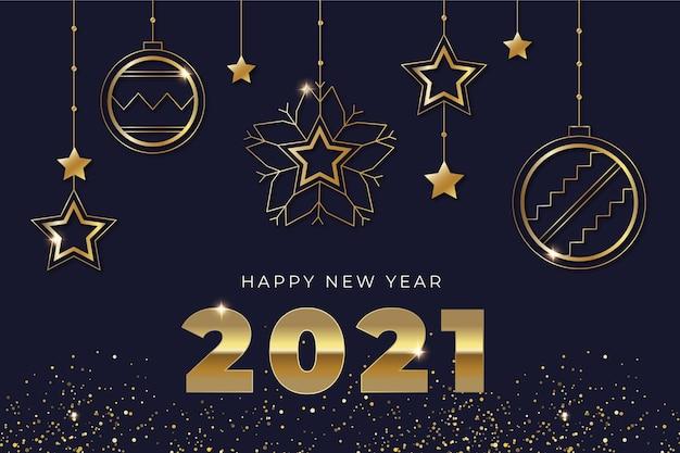 リアルな金色の装飾が施された2021年の新年の背景 無料ベクター